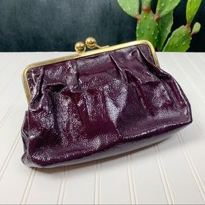 Goldenbleu Eggplant Italian Kisslock Clutch